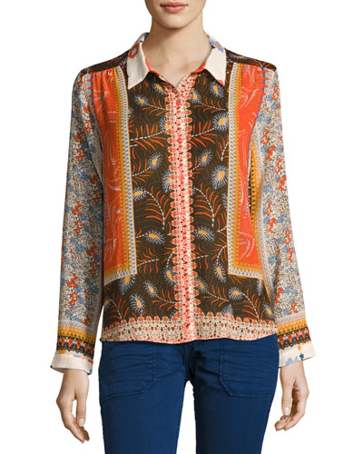Rosso Mixed Floral Shirt, Orange