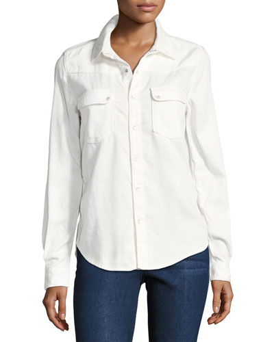 Bridget Button-Down Cotton Shirt, White