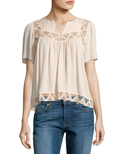 Umberto Geometric Lace Top, Neutral