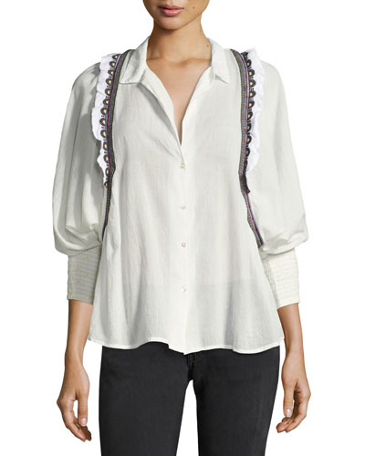Jermaine Embroidered-Trim Shirt, White/Black Multicolor