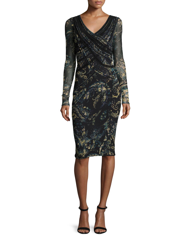Long-Sleeve Paisley Faux-Wrap Dress