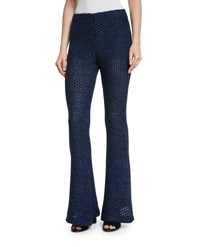Open-Knit Flare Leg Pants, Black/Cobalt