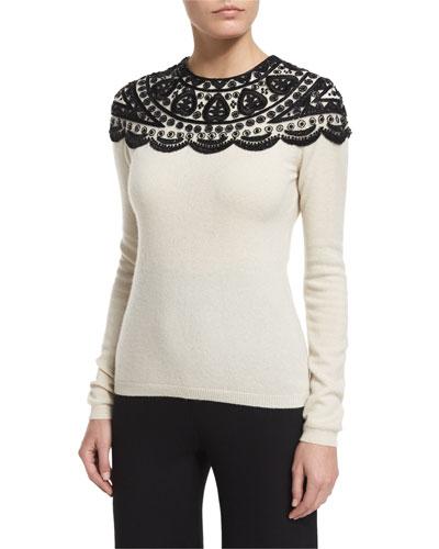Embellished-Yoke Cashmere Sweater, Ivory/Black