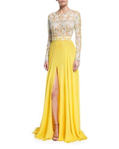 Long-Sleeve Beaded Silk Lace Gown, Yellow