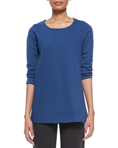 Ottoman Knit 3/4-Sleeve Tunic, Lapis Blue, Plus Size