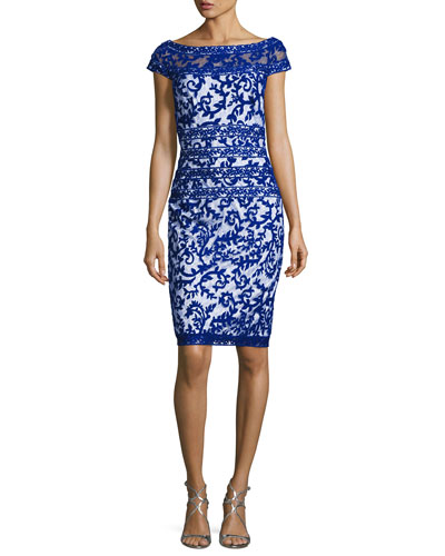 Filigree Embroidered Lace Cocktail Dress, Flame