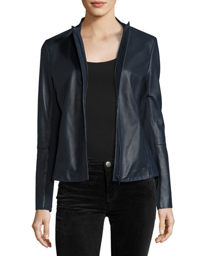 Perforated Zip-Front Leather Jacket, Navy