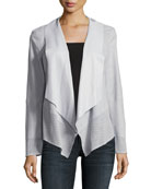 Draped Suede Jacket w/ Perforated Trim, Mist Blue
