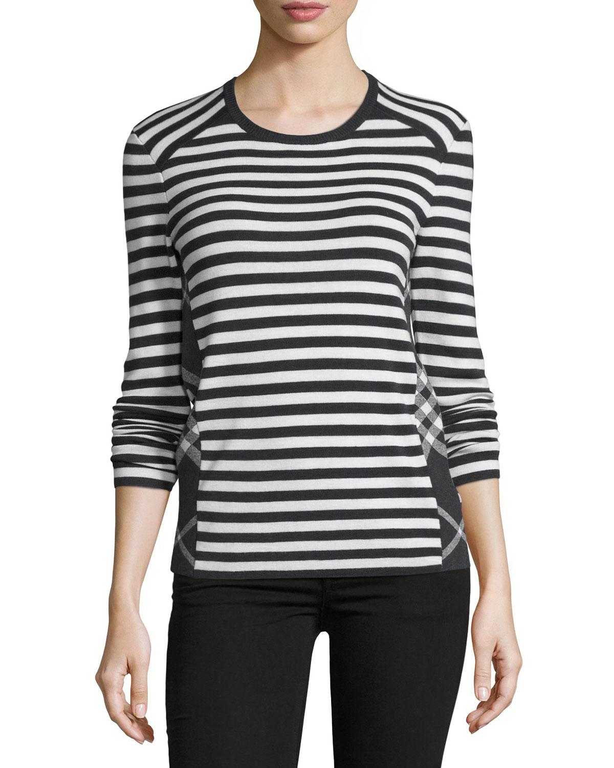 Long-Sleeve Mixed-Stripe Top, Black/White