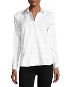 Aster Jacquard Check Long-Sleeve Shirt, White