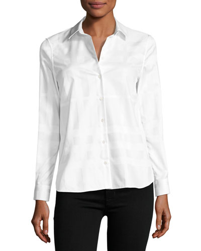 Aster Jacquard Check Long-Sleeve Shirt, White