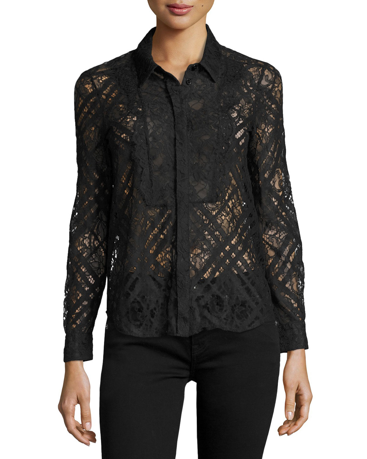 Long-Sleeve Lace Shirt, Navy