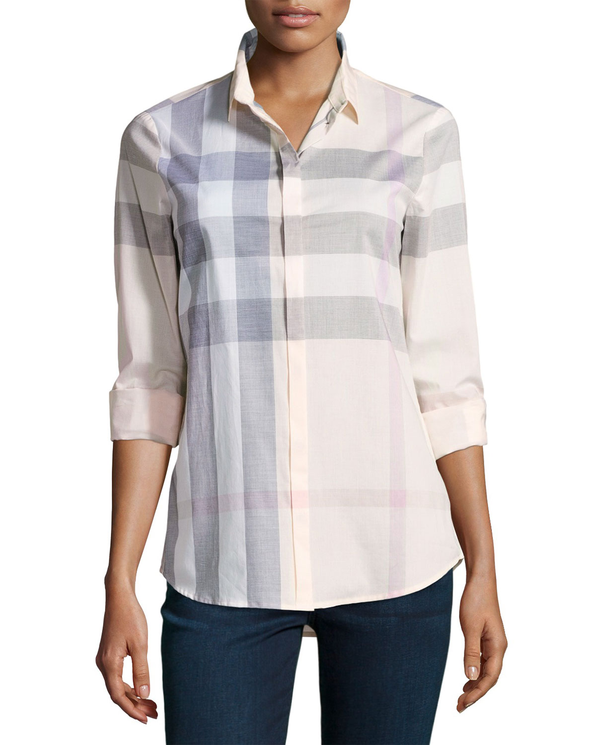 Long-Sleeve Check Shirt, Pink