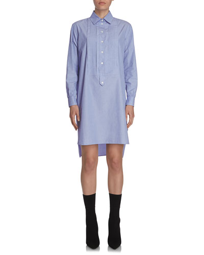 Chambray Tunic Shirtdress, Light Blue