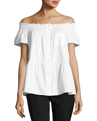 Smocked Off-the-Shoulder Short-Sleeve Blouse, White