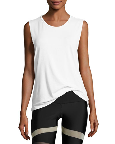 Twist Open-Back Muscle Tank Top, White