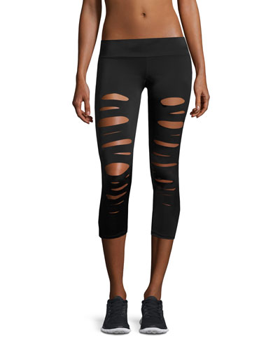 Shred Capri Performance Leggings, Black