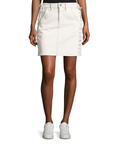 Ringo Laced Denim Skirt, White
