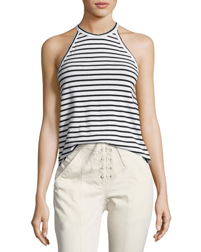 Brody Halter Striped Tee, Black