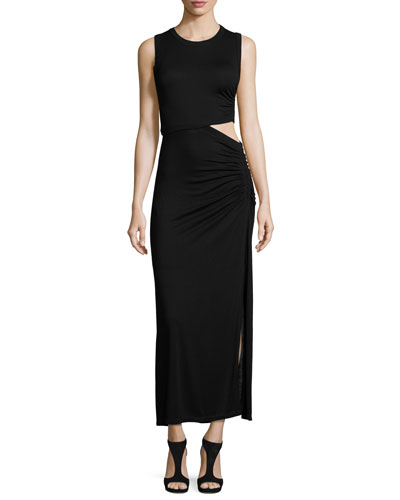 Jaxon Sleeveless Ruched Cutout Maxi Dress, Black