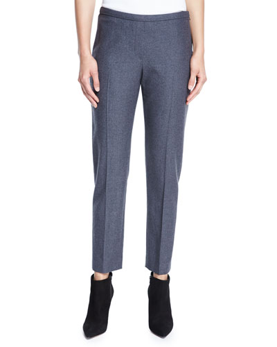 Marcia Straight-Leg Stretch-Wool Ankle Pants