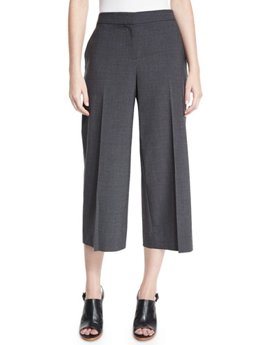 Skylar Tropical Wool-Blend Cropped Pants, Gray Melange