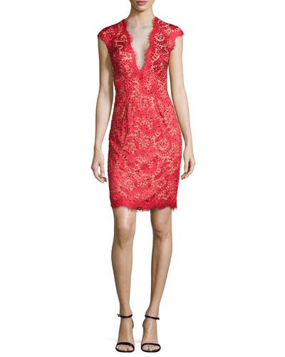 Plunging V-Neck Lace Dress