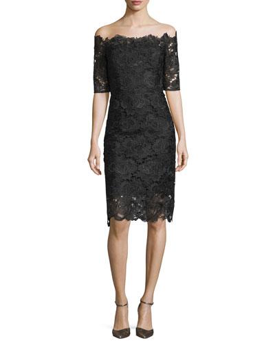 Off-the-Shoulder Lace Midi Cocktail Dress