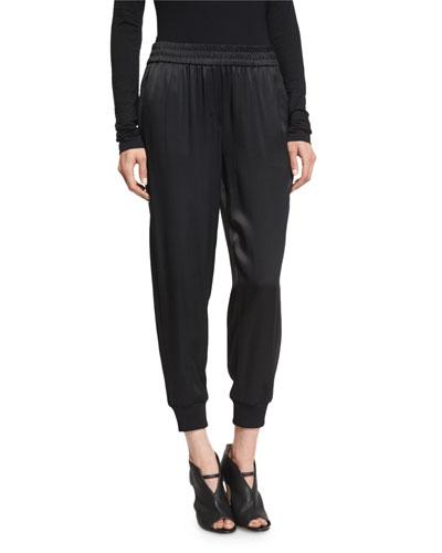 Cropped Satin Track Pants, Black