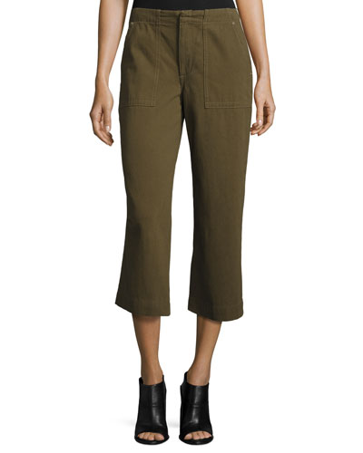 Denny Cropped Wide-Leg Pants, Army Green