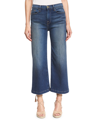 Le Capri Crop Wide-Leg Jeans, Plum Beach