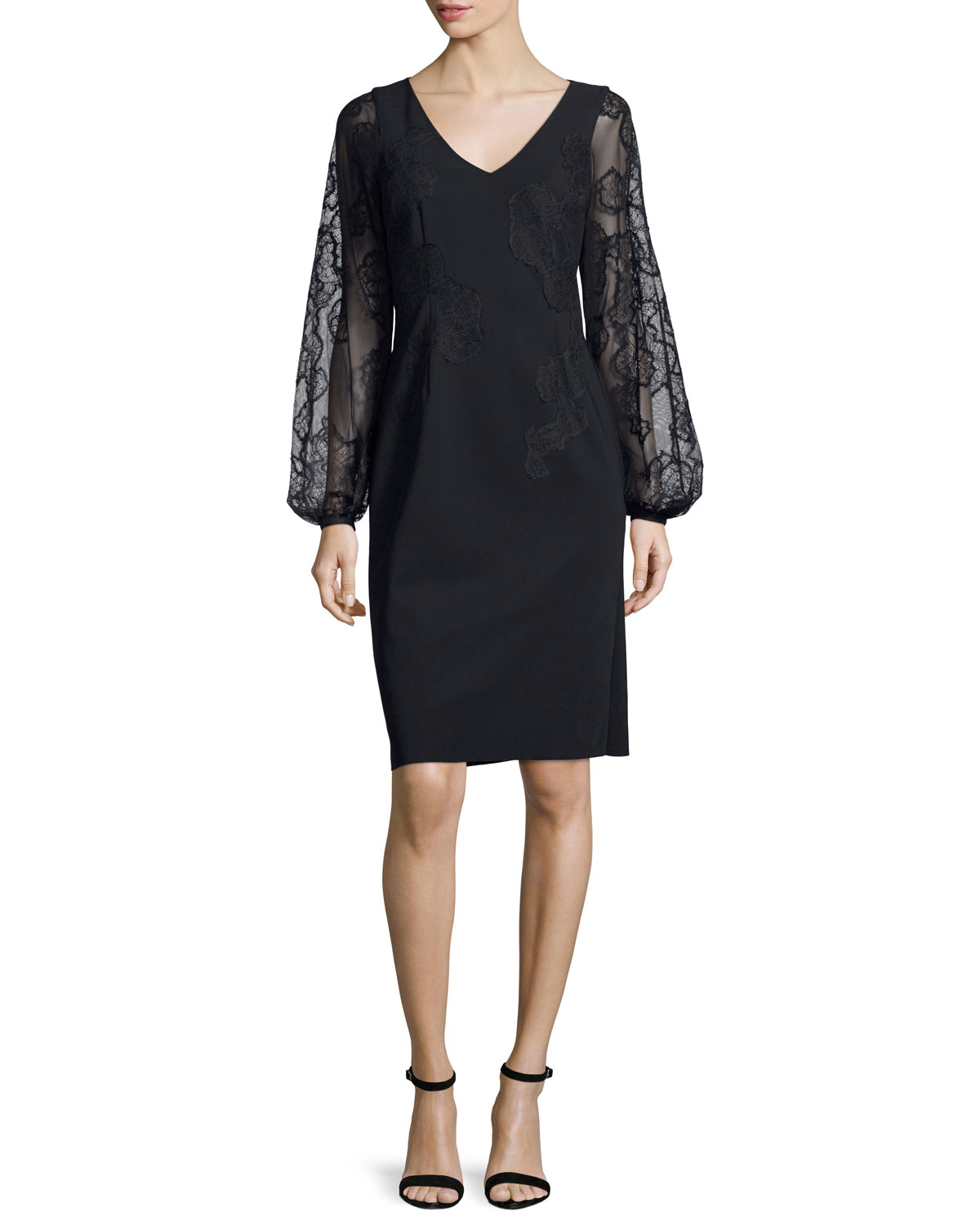 Long-Sleeve Embroidered Cocktail Dress, Black
