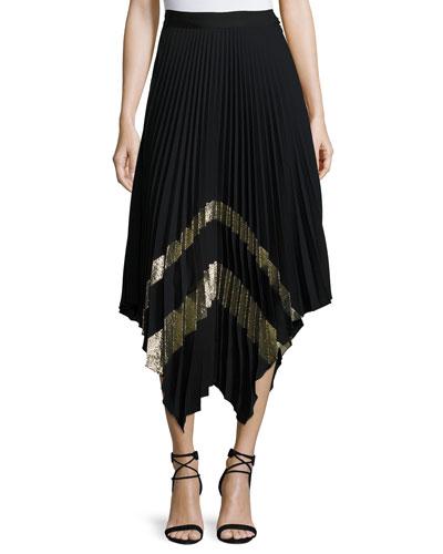 Palma Metallic Plissé Midi Skirt