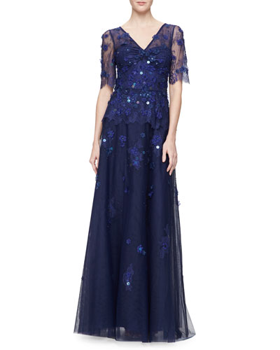 Short-Sleeve V-Neck Beaded Gown, Royal