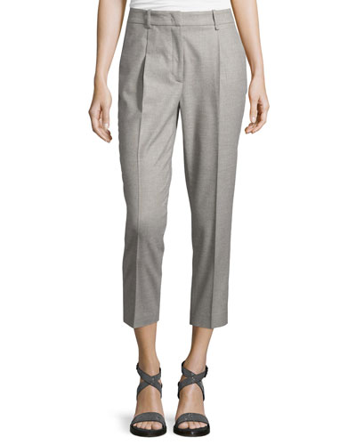 Cropped Flannel Pants, Stone