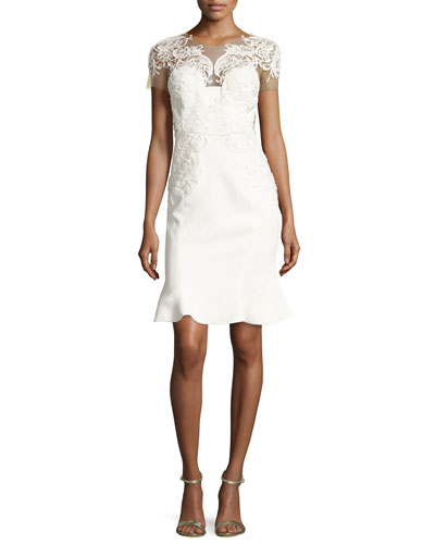Lace-Appliqué Flared-Hem Cocktail Dress, Ivory