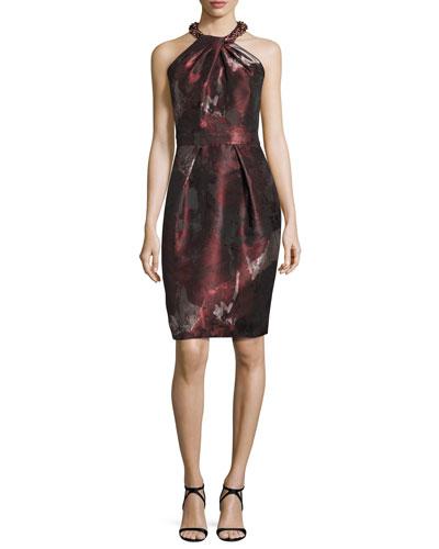 Sleeveless Floral Sheath Dress, Cinnamon