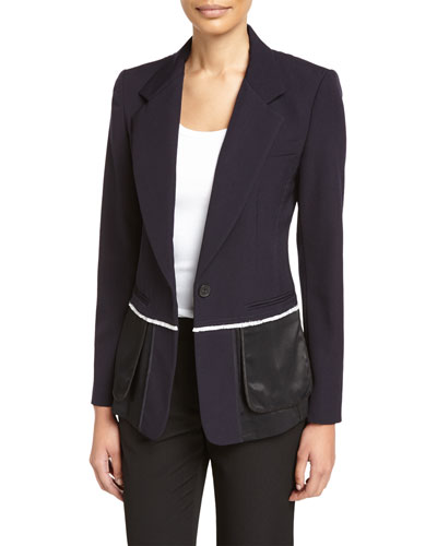 Wool & Satin Fringe Blazer, Navy