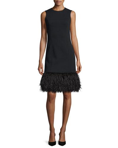 Ostrich-Hem Sleeveless Shift Dress, Black