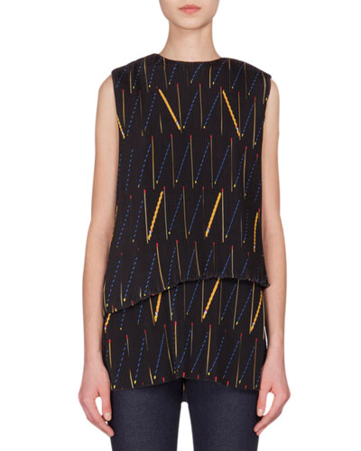 Matchstick-Print Pleated Tiered-Front Top
