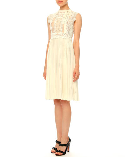 Sleeveless Lace Plisse Dress, Ivory