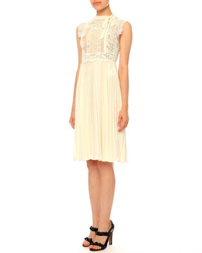 Sleeveless Lace Plisse Dress, Ivory