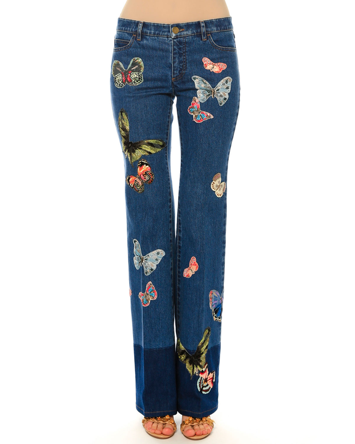 Mid-Rise Butterfly-Embroidered Jeans, Blue