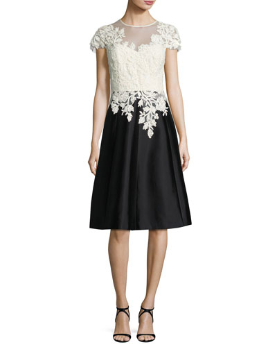 Cap-Sleeve Lace & Taffeta Fit-and-Flare Cocktail Dress, White/Black
