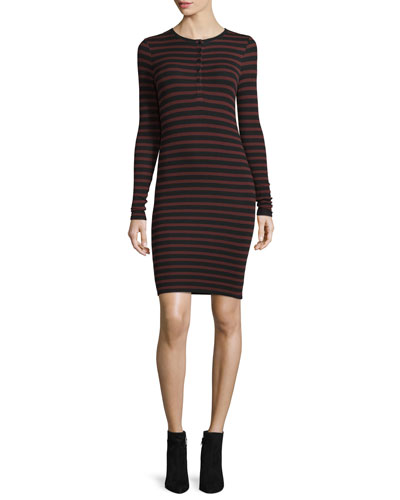 Long-Sleeve Striped Henley Jersey Dress
