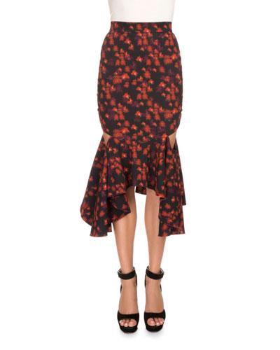Floral Cutout Flounce-Hem Skirt, Red
