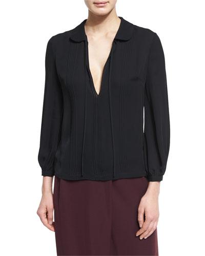 Pintucked Silk Chiffon Top, Black