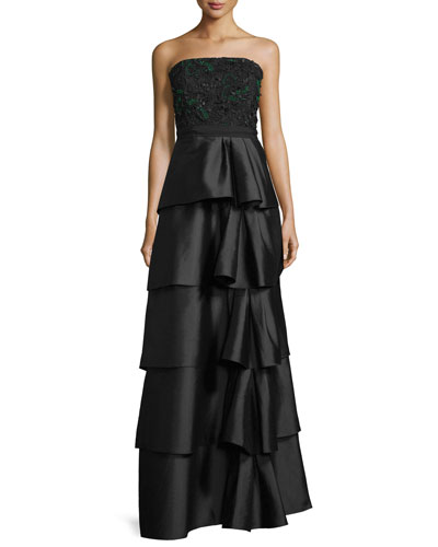 Strapless Tiered Ball Gown, Onyx