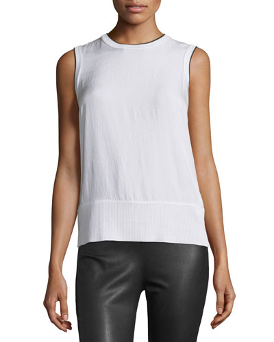 Abby Piped Crepe Tank, Bright White