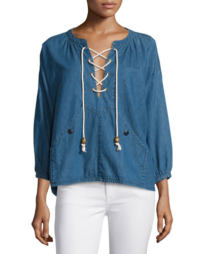 The Rope Lace-Up Denim Pullover, Harbor Wash